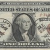 HAWAII ONE DOLLAR BILL STAMPED ON USS MISSOURI  ARMISTICE DAY SEPTEMBER 2nd 1945