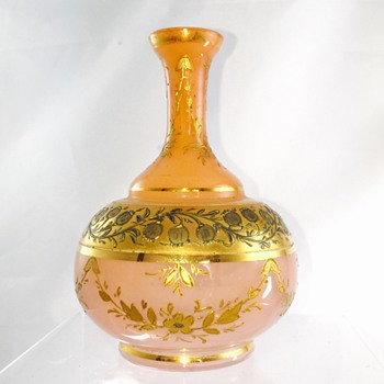 Victorian Harrach Peach Pink Opalescent Enamelled Perfume Bottle  - Art Glass