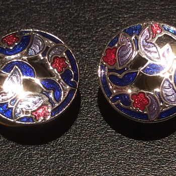 Vintage silver and enamel earrings