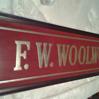 F.W. Woolworth Co. Glass Sign - Advertising