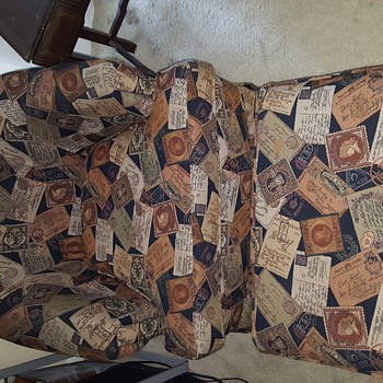 *Vintage Postage Stamp/Postcard SWIVEL CHAIR with Ottoman*