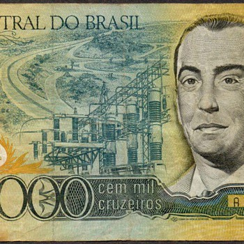 Brazil - (100,000) Cruzeiros Bank Note