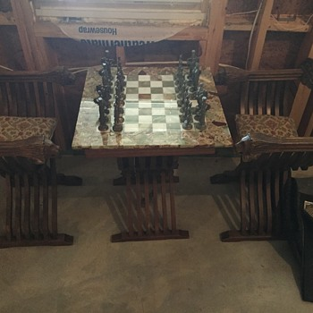 Vintage Italian Marble Chess Board with MOD DEPOSE pewter and brass pieces