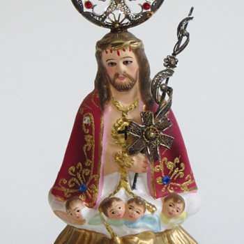 Painted and bejeweled Jesus Statue~Inset Eyes, Beautiful Silver Halo - Figurines