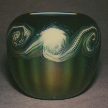 QUEZAL ART GLASS ROSE WATER VASE, circa 1905