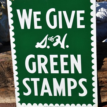 2-sided Porcelain Green Stamps Sign