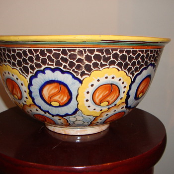 HAND PAINTED POTTERY BOWL ~ ITALIAN ? MEXICO ~ ?  - Art Pottery