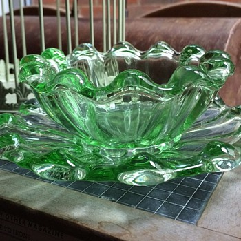Green glass bowl and saucer set - Glassware