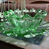 Green glass bowl and saucer set