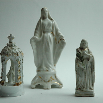 set of 3 french victorian porcelain religious  figurines