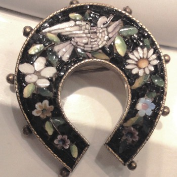 Micro Mosaic Vermeil Horse Shoe Dove Flower Brooch - Fine Jewelry