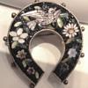 Micro Mosaic Vermeil Horse Shoe Dove Flower Brooch