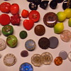 Assorted glass buttons