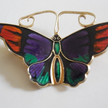 David - Andersen Guilloche Butterfly Brooch