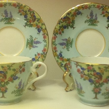 Blue Aynsley Cup and Saucer Sets