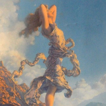 Original Maxfield Parrish ECSTASY Art Deco Edison-Mazda Calendar Print  - Advertising