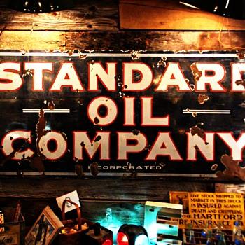 Huge Standard Oil Company Porcelain Sign