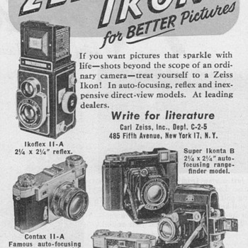 1951 - Zeiss Ikon Cameras Advertisement