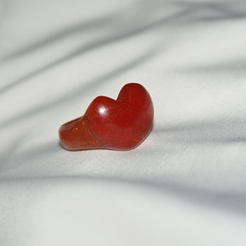Vintage Carved Bakelite Heart Ring