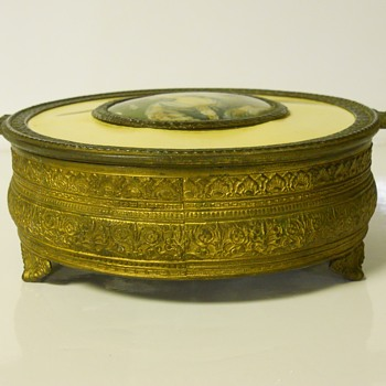 Post 2 of 5-Brass Candy Dish with Clear Glass insert,Maker Unknown,Late 1900