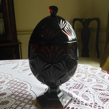 Red Egg Shaped Glass Covered Candy Dish - Glassware