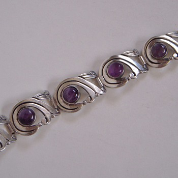 Sterling &amp; Amethyst Bracelet made in Mexico~Unreadable Signature
