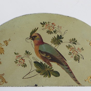 Clock Face half round top~Japanned, handpainted Bird~Wilson Adams?