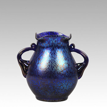 Loetz Cobalt Papillon Vase - Art Glass