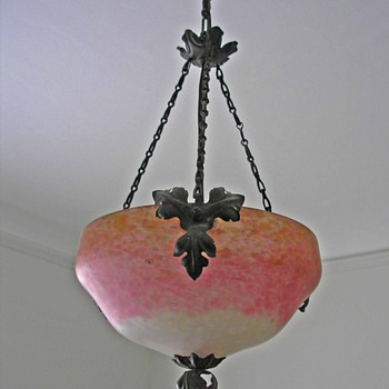 Pink Art Glass Hanging Lamp Shade