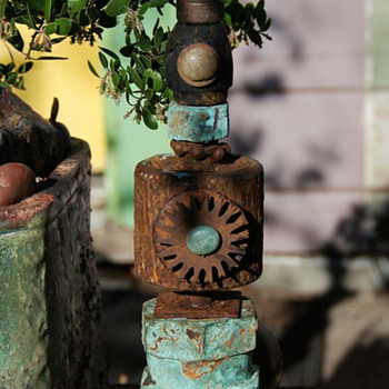 Rusty Junk Sculptures I make as Garden Focalpoints