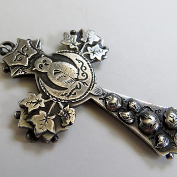 Sydenham Brothers Sterling Cross ca.1860's~Very Unusual Details, Owl, Moon - Fine Jewelry
