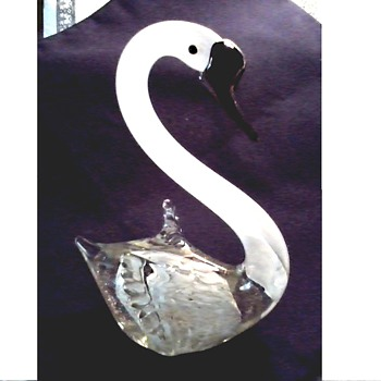 White Art Glass Swan / Black Applied Details and Gold Aventurine/ Unknown Maker and Age  - Art Glass