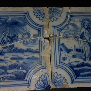 Two very old Delft biblical scene  tin glazed tiles - Art Pottery