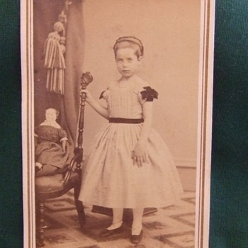CDV of Civil War era girl with toy Doll - Photographs