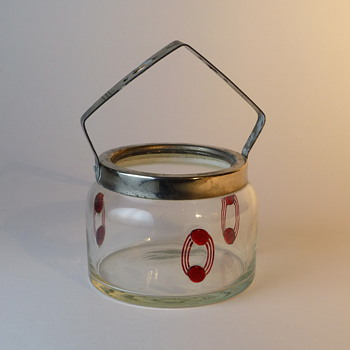 Small art nouveau glass basket/sugarbowl with applied dots - Glassware