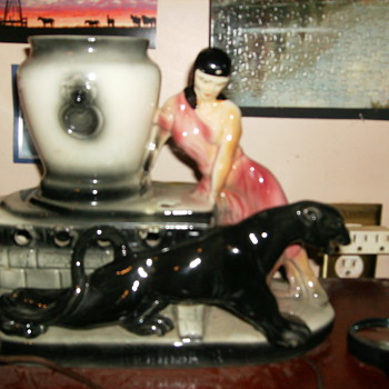 1955 lady and panther lamp