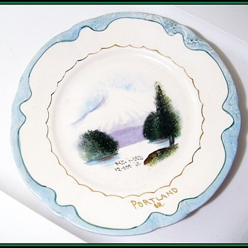 Mount HOOD - Portland, Oregon  Plate -- Marked but ??? - Art Pottery