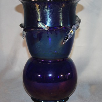 Large Oilspot Blue Vase with Clear Applications