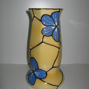 "Czechoslovakia Pottery Art Deco Vase 30""s  decor is Blue Kvetnia  - Art Pottery"