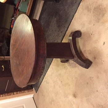 Round Top Wood with Veneer Table - Card Table?