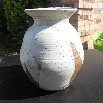 LOUIS SIGNED STONEWARE VASE -METAL UNDER THE GLAZE???