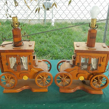 WOODEN STAGECOACH LAMPS