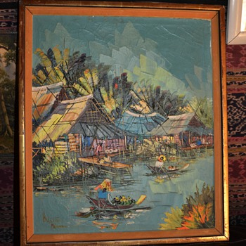 Mid Century Thai Painting - landscape with heavy impasto - Kitilerk Muhummad - Visual Art
