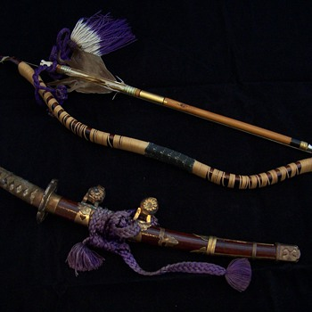 Meiji Period Japanese Boys Day Doll Sword & Bow