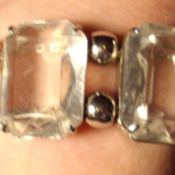 Large Emerald cut crystal bracelet. - Costume Jewelry