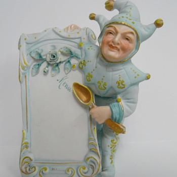 Bisque Joker Clown Place Holder Menu Plaque Unusual