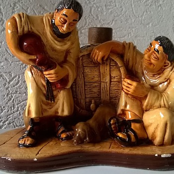 Two Drunk Monks & A Dog...Merry Monks Stoneware Figurine Decanter Bottle Spain