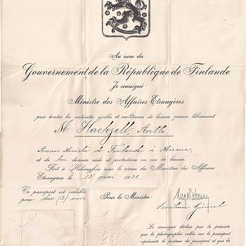 Finland Diplomatic passport - Antti Hackzell