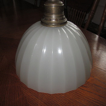 Plume & Atwood Milk Glass Hanging Light Dated 1912