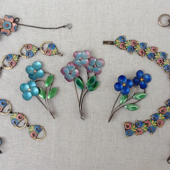 Bernard Instone Silver and Enamel Brooches and Bracelets